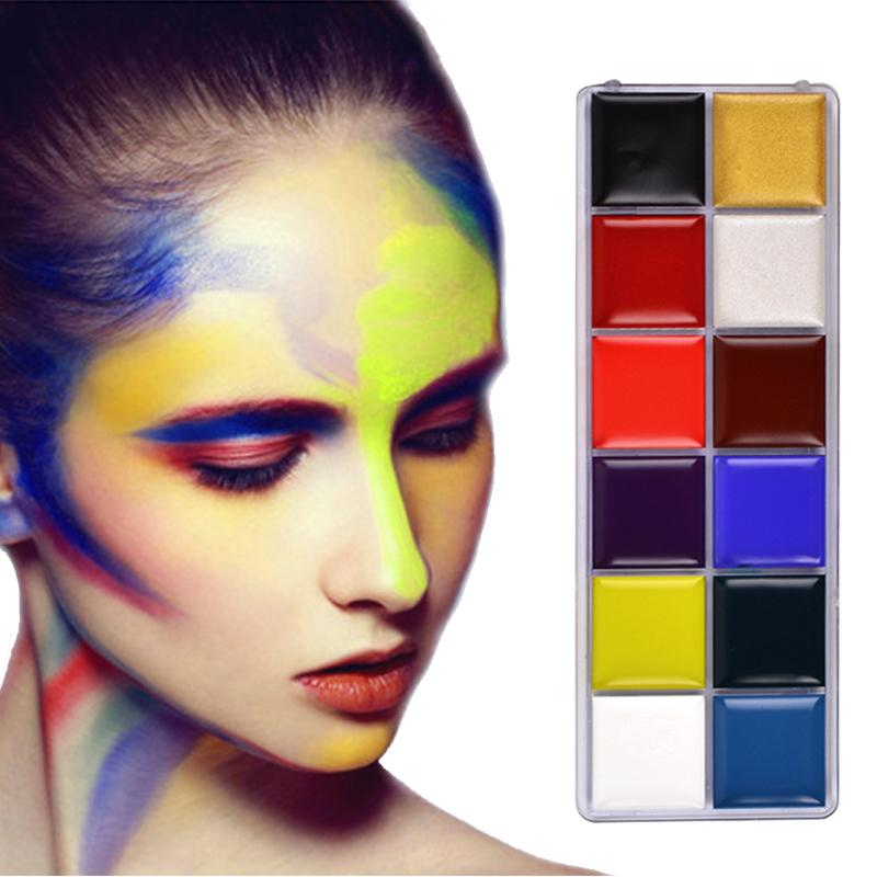 12 Colors Flash Tattoo Face Body Paint Oil Painting Art use in Halloween Party Fancy Dress Beauty Makeup Tool