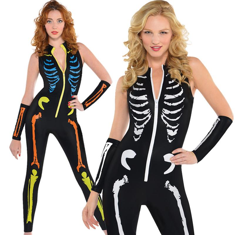 2018 Women Autumn Punk Style Skeleton Skull Print Sheath Leotard Bodysuit Halloween Costume Catsuit Sexy Women Jumpsuit