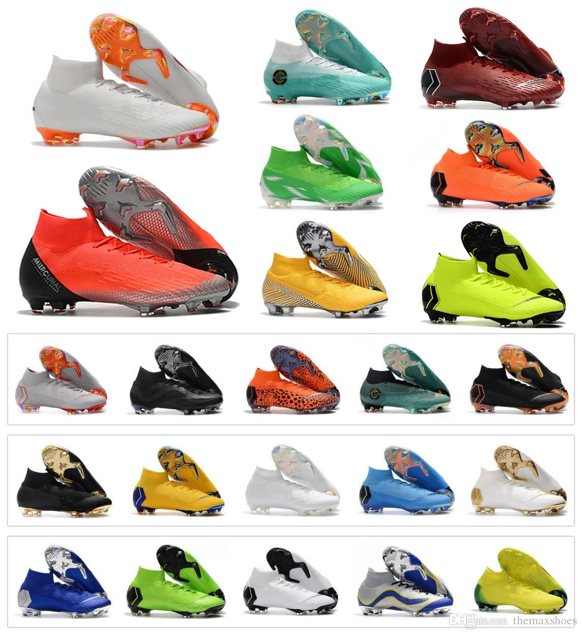 new product 04341 c8536 Acheter Mercurial Superfly VI 360 Elite FG KJ 6 XII 12 CR7 Ronaldo Neymar Hommes  Femmes Garçons Chaussures De Soccer Haut Football Bottes Crampons Taille 35  ...