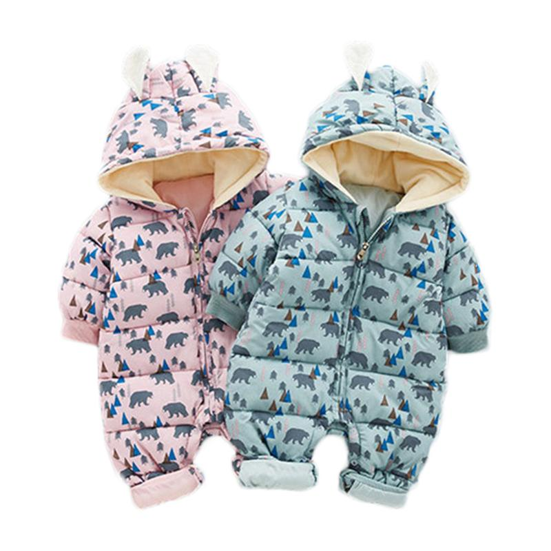 da7c925bb048 2019 Warm Children Winter Jumpsuit Fashion Rompers Flower Baby Girl ...