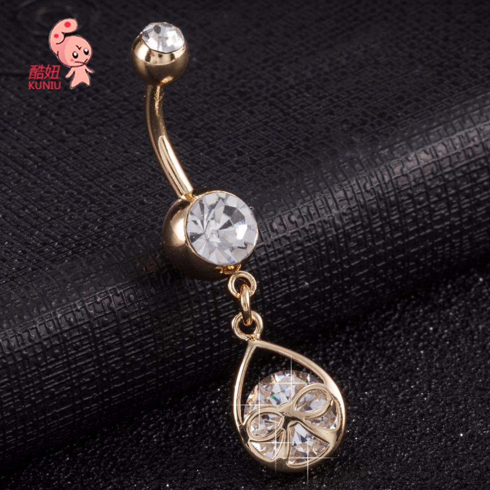 KUNIU New Fashion Woman Bow-knot Bell Button Rings Navel Body Belly Piercing Nombril Body Jewelry for Women Navel Piercing 182