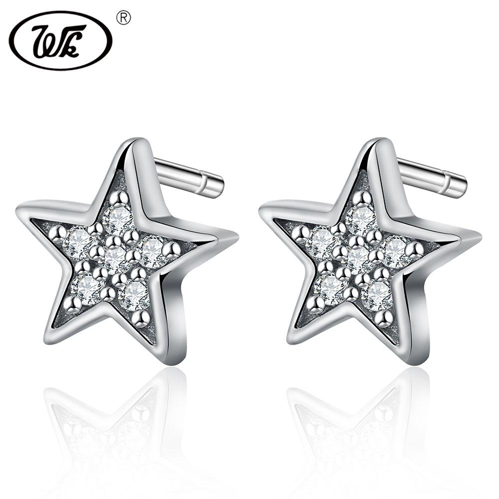 54b7a7010 2019 WK 925 Sterling Silver Small Earrings Star Crystal Cubic Zirconia  Simple Trendy Stud Earrings Women Girls Fine Jewelry 0W EA067 From Hermane,  ...