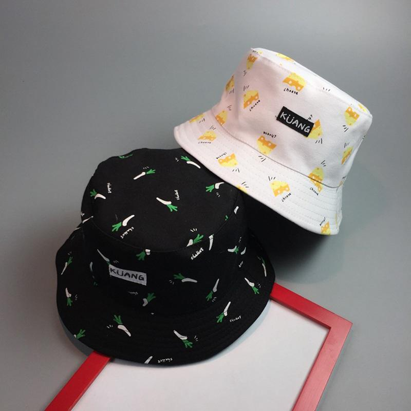 Fashion Women Hat French Fries Banana Printed Cap Two Side Reversible Caps  Ladies Beach Sunscreen Bucket Hat Casual Hats JL Stetson Hats Cowboy Hats  From ... 1a353e0470b