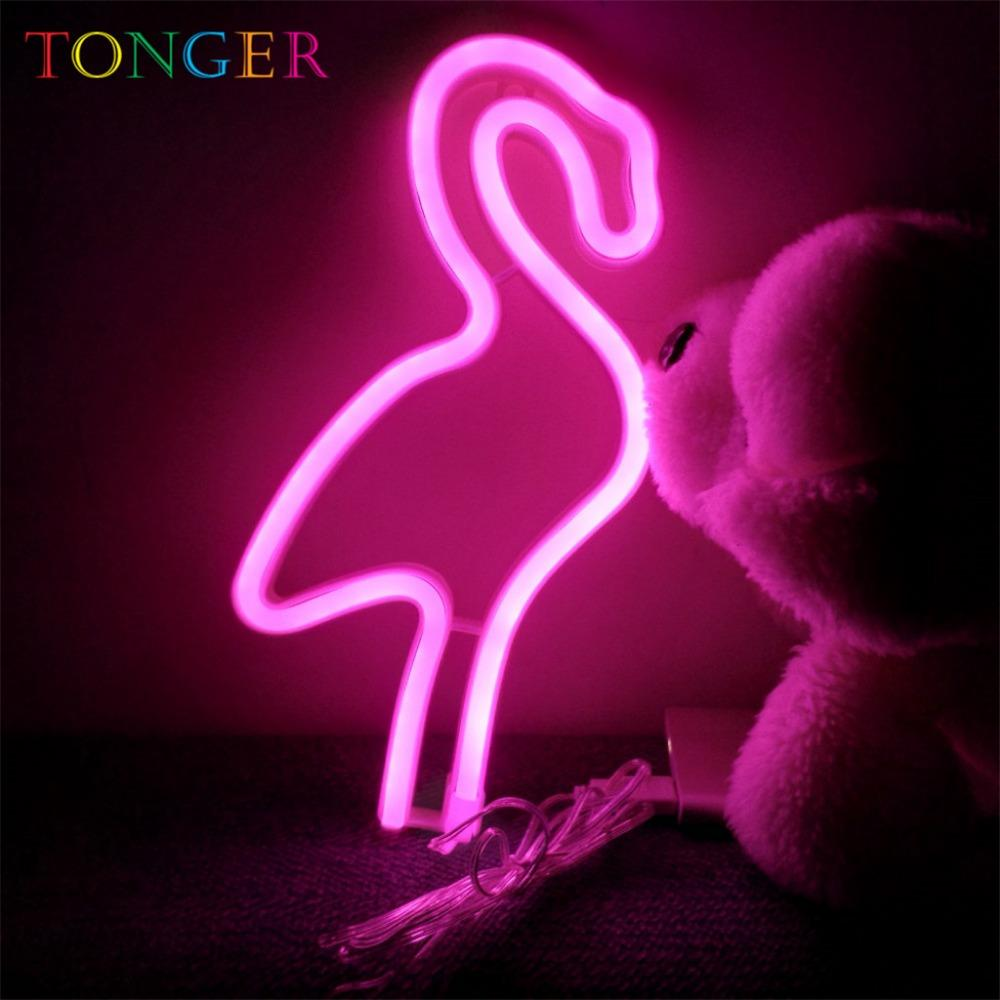 2019 Tonger Pink Led Neon Lamp Decoration Lights Flexible Flamingo