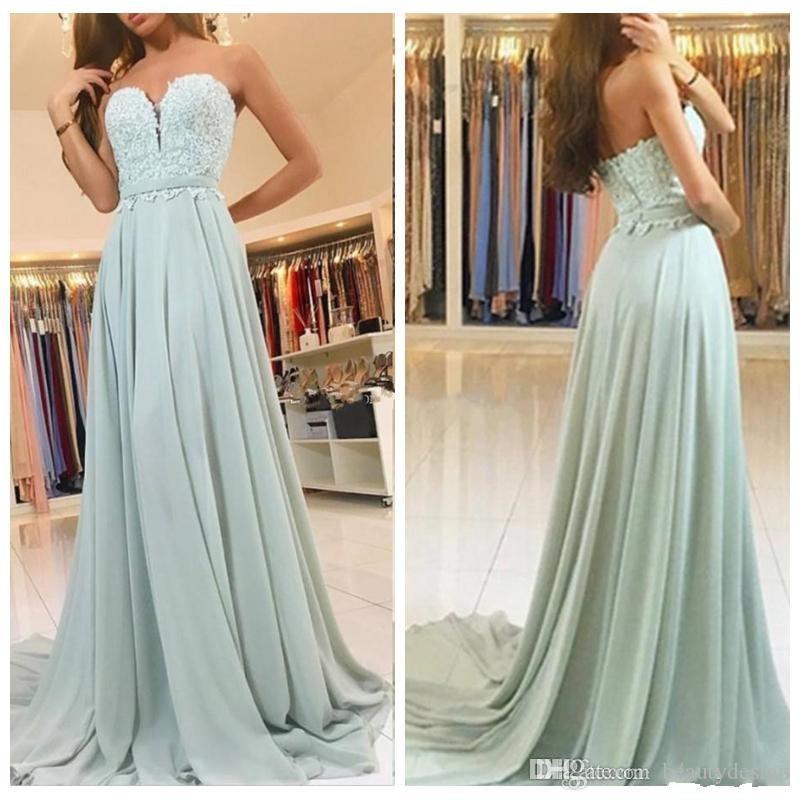 8b4e085bcc0a3 Mint Green Chiffon Lace Appliques Prom Dress 2018 Long Sweetheart A Line  Formal Dresses Evening Wear Party Gowns Vestidos De Fiesta Cute Prom Dresses  ...
