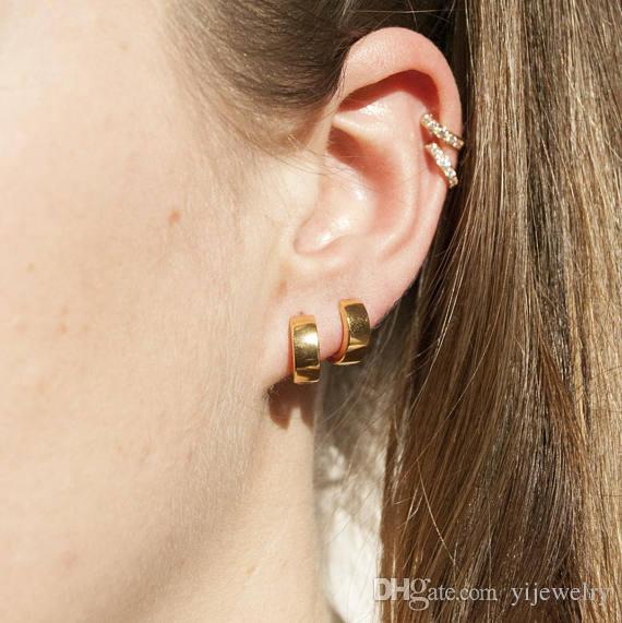 e0e060bd78003 gold hoop earring 925 sterling silver fashion Chic jewelry fine mini plain  band hoops minimal girl classic trendy jewelry