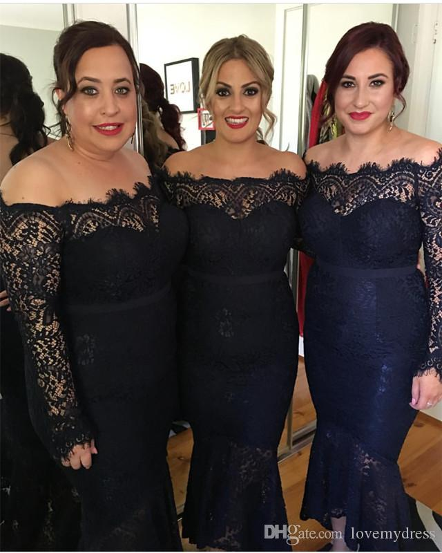 1abaa1c7c1e8 2018 Nigerian Lace Styles Short Bridesmaid Dresses Off The Shoulder  Illusion Long Sleeves Black Navy Blue Wedding Guest Party Dress Bridesmaid  Dress Stores ...