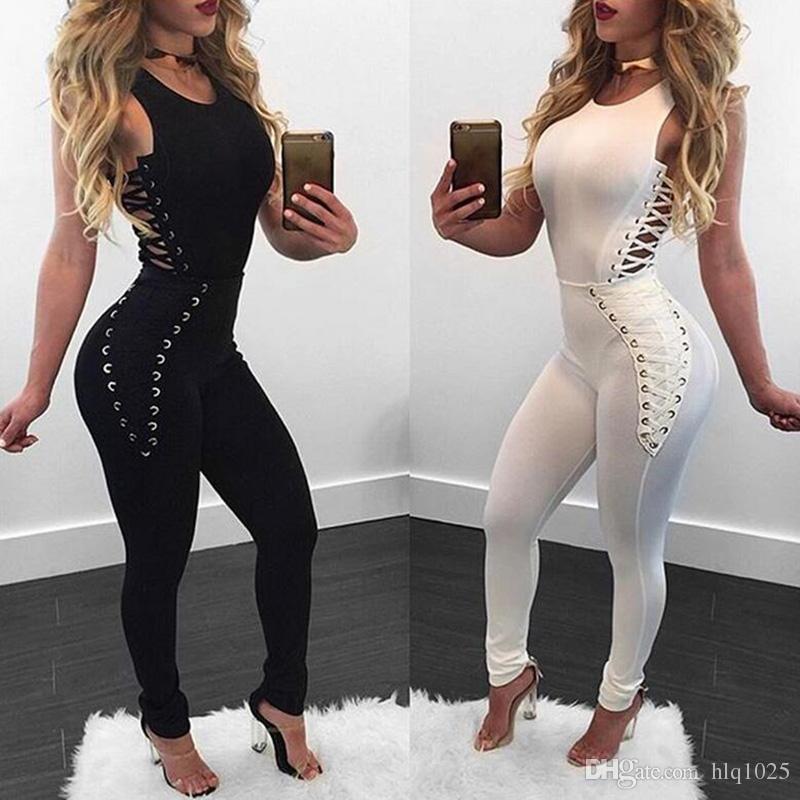 d8d9d1c55dd7 Fashion Sexy Jumpsuit New Women Black White Bodysuit Lace Up Bandage Women  Overalls Sexy Vestidos Jumpsuit Jumpsuits Women Jumpsuits Rompers Bodysuit  Online ...