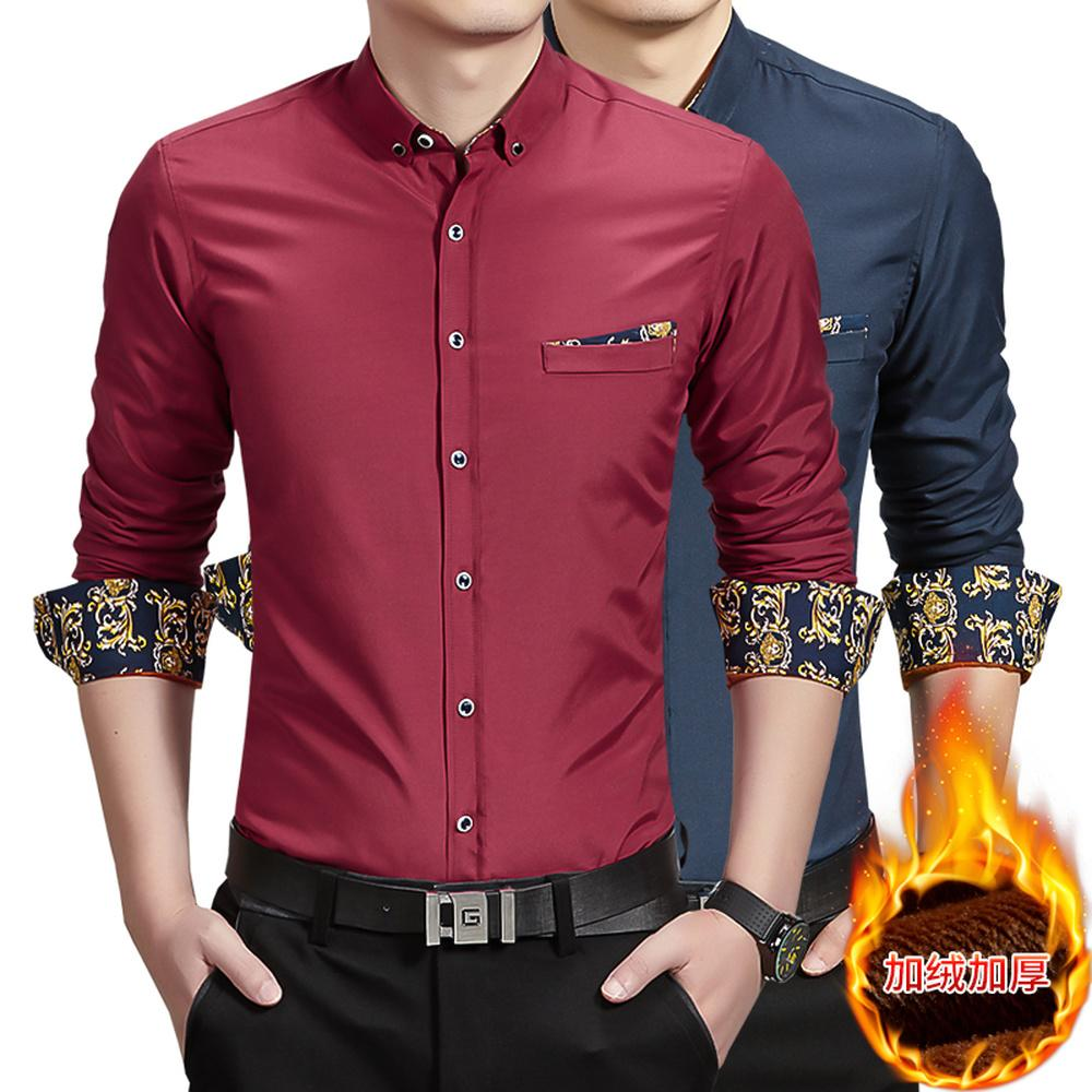 2019 New 2018 Winter Dress Shirts High Quality Mens Casual Thick