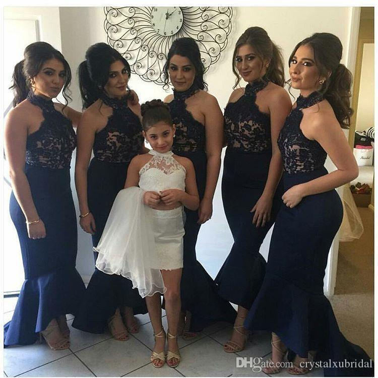 94d0ff368b28 Navy Blue Bridesmaid Dresses 2018 Cheap Arabic Halter Neck Lace Applique  Mermaid High Low Dubai Plus Size Maid Of Honor Wedding Guest Gowns Corset  ...