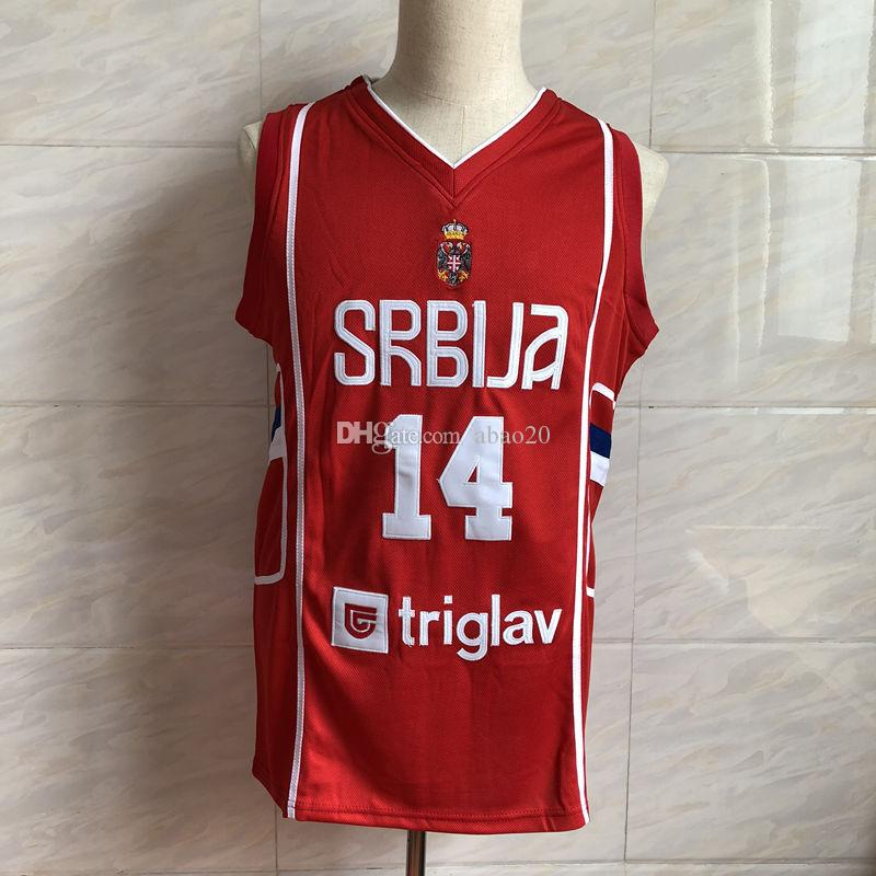 new product 07257 9bc16 #14 Nikola Jokic Serbia Basketball Jersey Men s Embroidery Stitches  Customize any Number and name jerseys