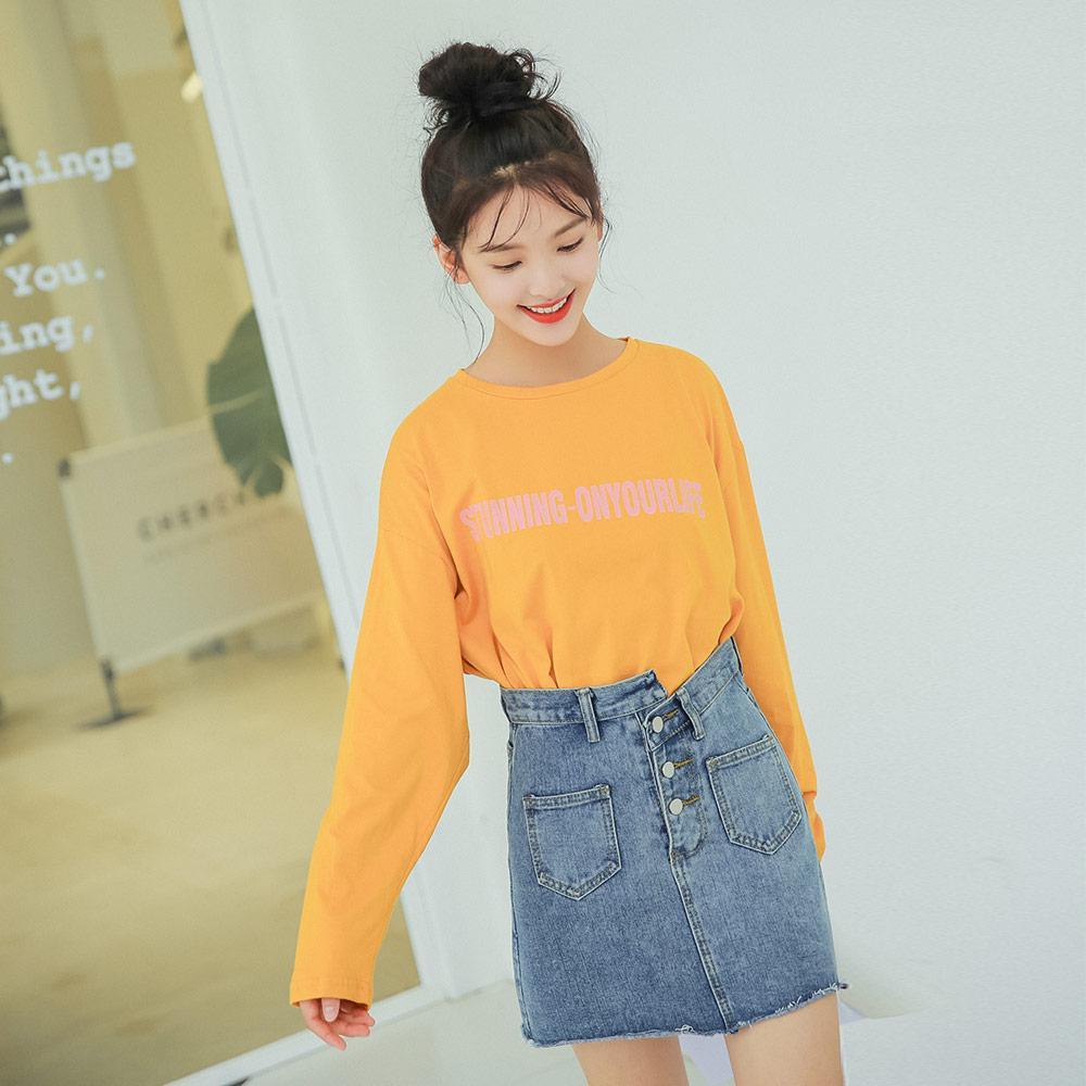 b5aee112d Preppy Style Orange/Yellow/Green Long Sleeve T Shirt Women Autumn Tops  Korean Loose Letter Print Fashion T Shirt Womens Clothing Humorous T Shirts  T Shirts ...