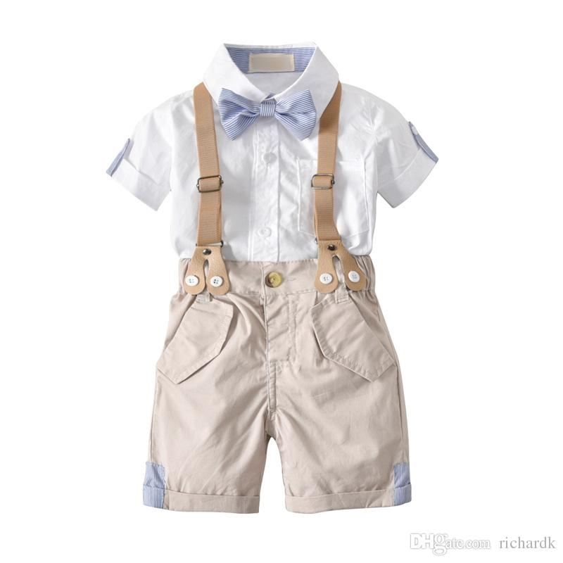 Kids Clothes Baby Summer Clothing Toddler Boy Clothes Set Boys School Uniform Bow Tie Gentleman Short Sleeve Shirt+Strap Shorts