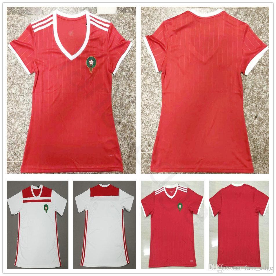brand new a8dd4 65982 2018 Women Morocco Soccer Jerseys 10 ZIYECH 5 BENATIA 8 EL AHMADI BOUTAIB  BOUSSOUFA Blank Custom Home Red Men Kids Youth Football Shrits