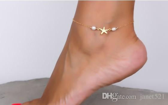 Punk Ankle Bracelets Girls/Ladies Gold Tone Starfish Fake Pearl Anklet Chain Foot Chains Yoga Dancing Anklets