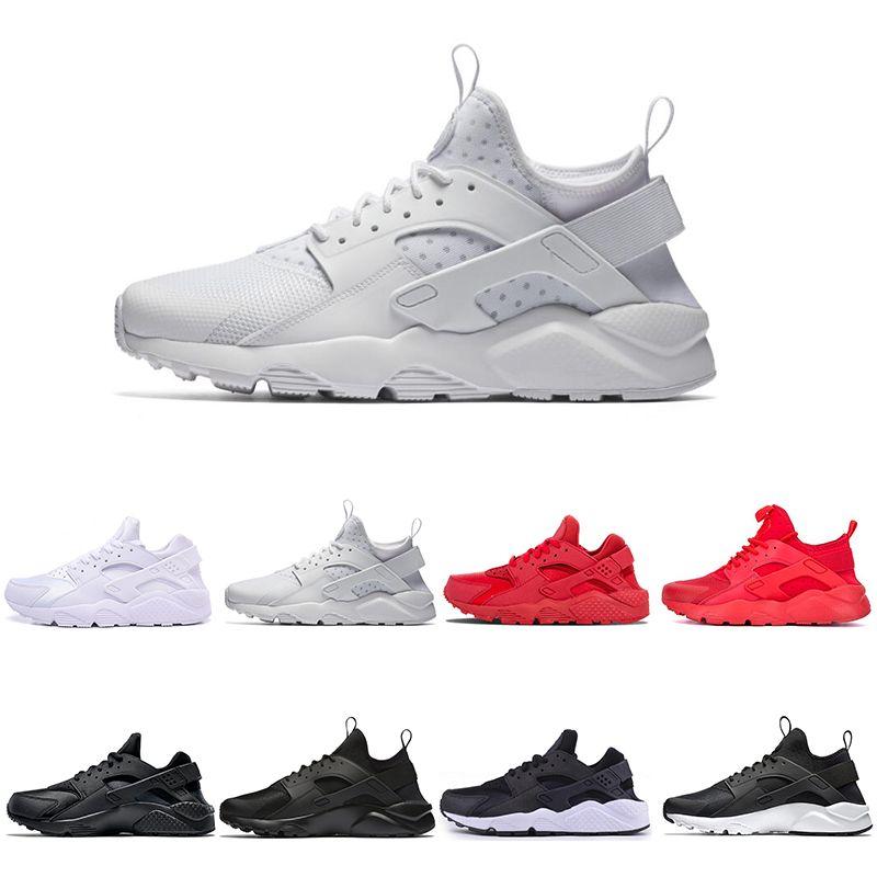 pretty nice d80fa 1b881 New Huarache 4 IV Classical Triple White Black Ultra Huarache Shoes Men  Womens Huaraches 1 sports Sneakers Running Shoes Size 5.5-11
