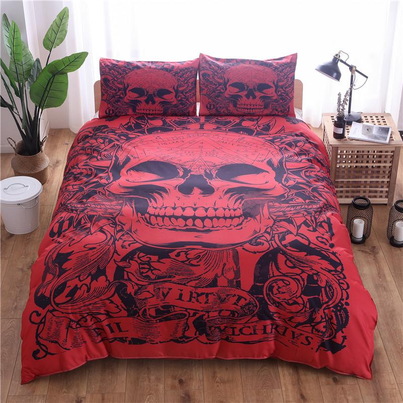 Red Skull Printed Duvet Cover Set 3pcs Single Double Queen King Bedclothes Bed Linen Bedding Sets (No Sheet No Filling )