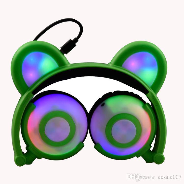 Bear Ear Recharging Headphones Foldable Panda Ear Games Headset with LED light Blinking Cosplay bearcat Earphone breathing Light cosplay