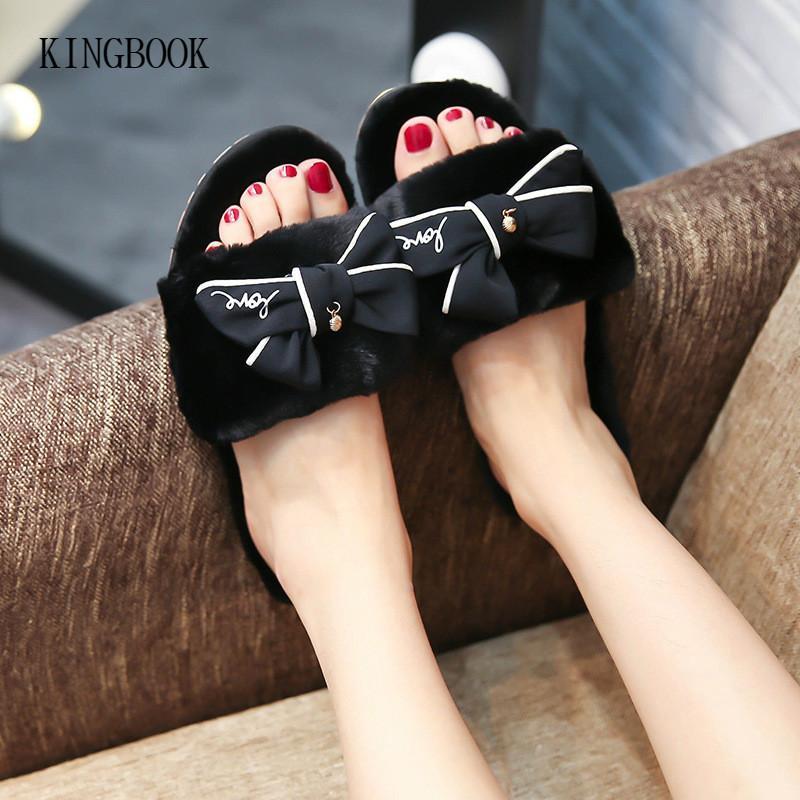80189e586d4c3a Mulheres Inverno Casa Chinelos De Pelúcia Slides Borboleta Nó Sapatos de  Pele Das Senhoras Sandálias Planas Chaussure Femme