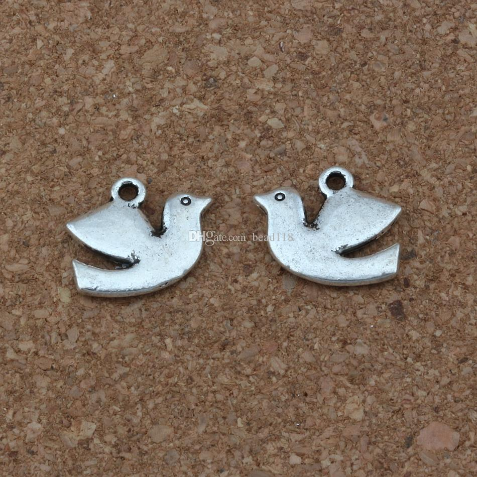 Friedenstaube Vogel Charms Anhänger 100 Teile / lose 17x13,5mm Antike Silberne Modeschmuck DIY Fit Armbänder Halskette Ohrringe A-250
