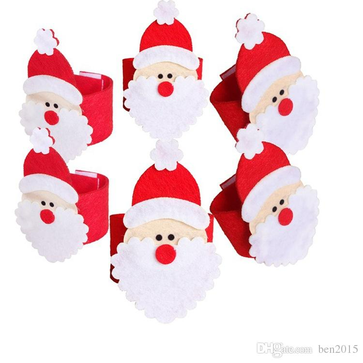 Christmas Santa Claus Napkin Rings Serviette Holders Party Dinner Table Decor For Home Christmas Tableware Supplies