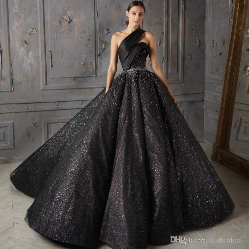 235ba0285 One Shoulder Sleeveless Evening Dresses Gorgeous Sexy Black Ball Gown Prom Dresses  Sparkly Sequins Beads Sleeveless Red Carpet Dresses Ivory Prom Dresses ...