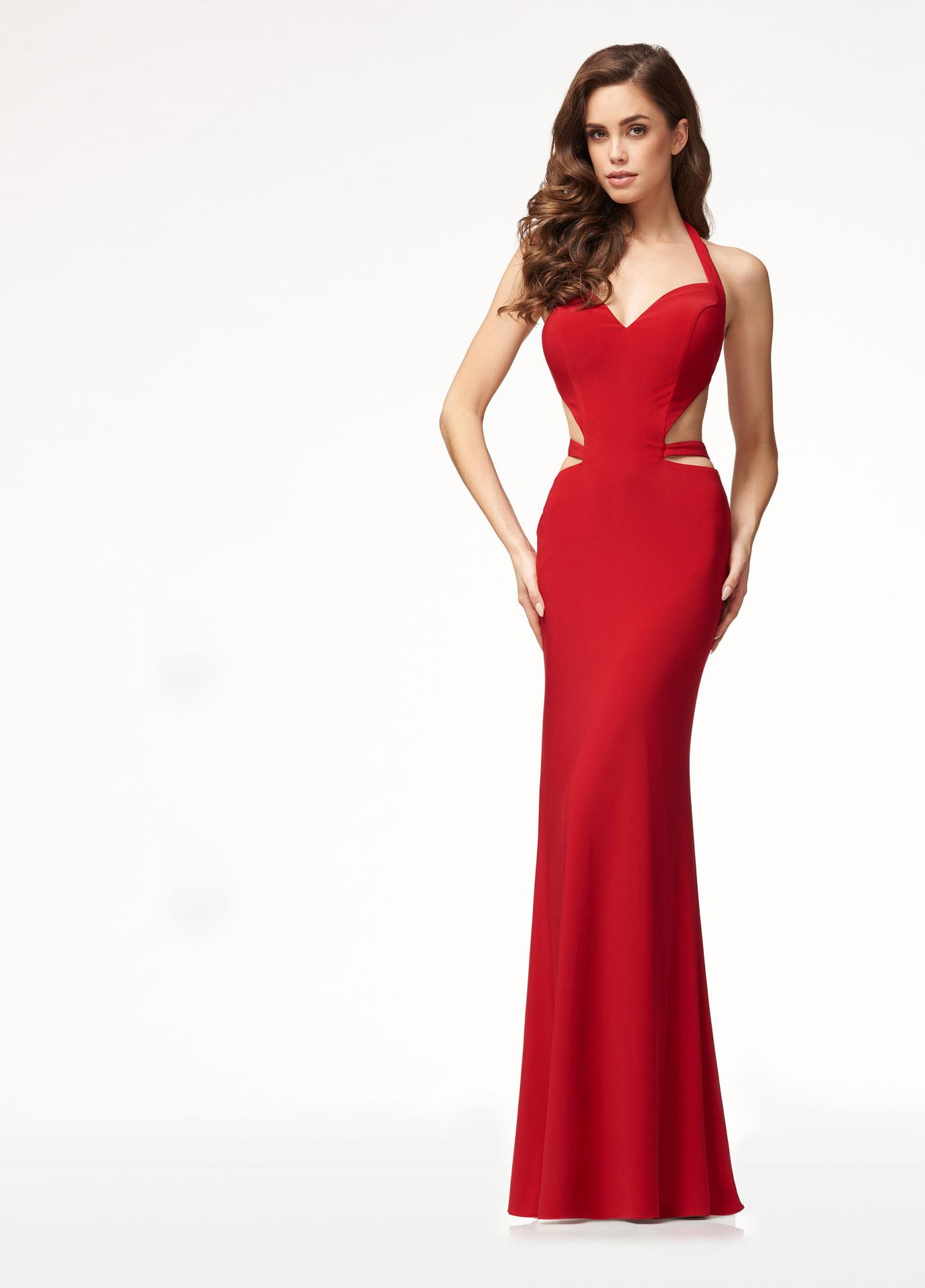 Sexy V-Neck Maxi Bandage Dress Red Color Women 2018 Halter Backless ... 6a71cdcb4777