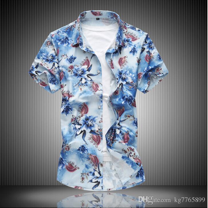 e96546ea26126 Satın Al Rahat 2018 Moda Erkek Gömlek Kısa Kollu Tops Basit Katı Renk Erkek  Gömlekler Ince Erkekler Gömlek Hawai Artı Boyutu XXXL, $23.43 |  DHgate.Com'da