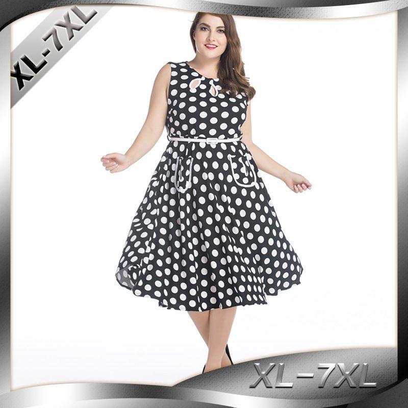 e26508d7d69 H 2018 Plus Size Tunic Dress Women Elegant Retro Black Office Prom Party  Dresses Summer Tide Cute Polka Dot Dress L 6XL 7XL From Lvyou09, $41.82 |  DHgate.