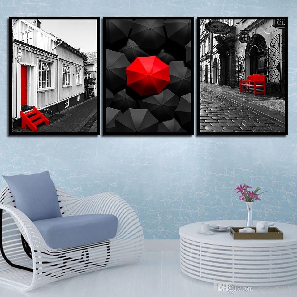3 Piece Nordic Style Canvas Paintings Wall Art Decoration For Living Room Printing Black Red Umbrella And Chair Street Landscape Posters