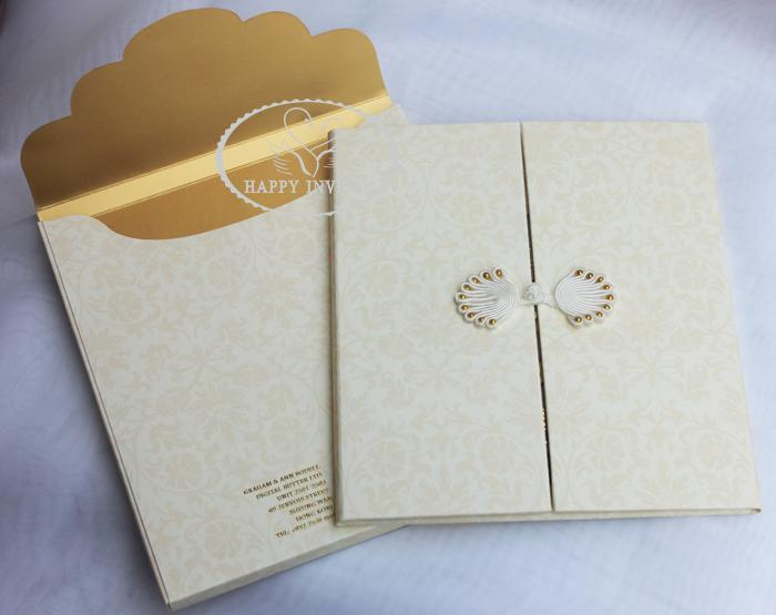 For Some Countries! HI1091 Personalized Hard Cover Gate Fold Wedding Card  With Gold Foil Made In China Affordable Letterpress Wedding Invitations  Arabic ... 494a74a3e39d