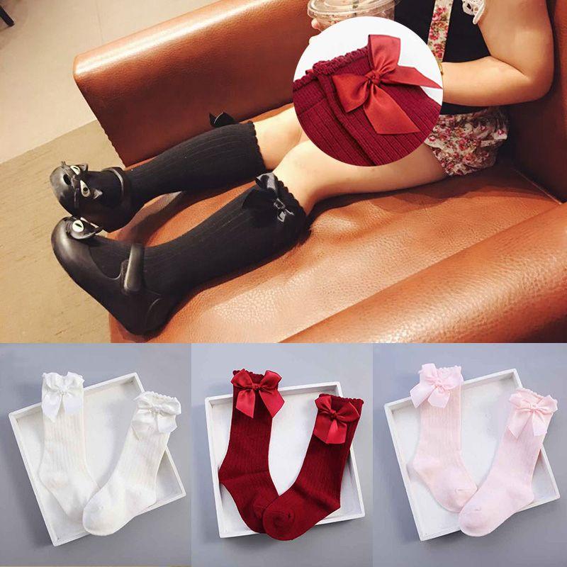 3e9c0120cae2f Girls Socks Knee High With Bows Princess Kids Socks Girl Cute Baby Sock Long  Tube Kids Child Booties Vertical Striped Meias 2 4Y Loose Socks Hosiery  Socks ...