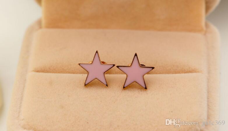 Version coréenne de goujons d'oreilles en or rose et titane acier Dijiao titane rose et noir Fashion Simple OL Joker boucles d'oreilles