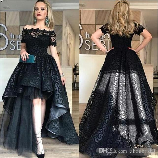 Modest Black High Low Lace Prom Dresses 2018 Bateau Short Sleeve A Line Short Front Long Back Evening Party Pageant Gowns Cheap Vestidos
