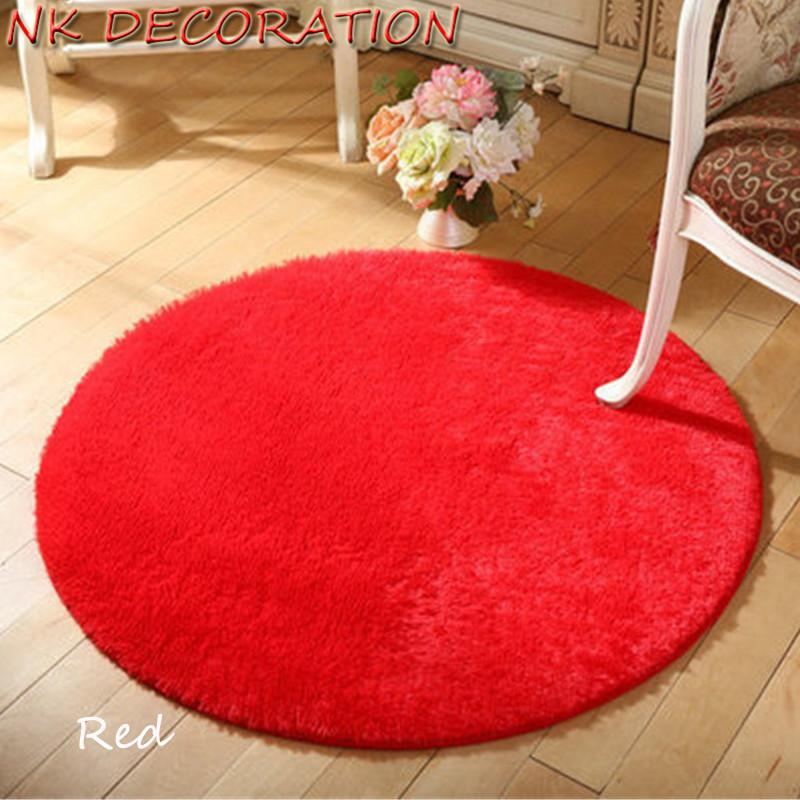 NK DECORATION 100cm Red Round Carpet Rug Carpets Yoga Living Room Carpet  Kids Room Rugs Soft and Fluffy Warm and Comfortable