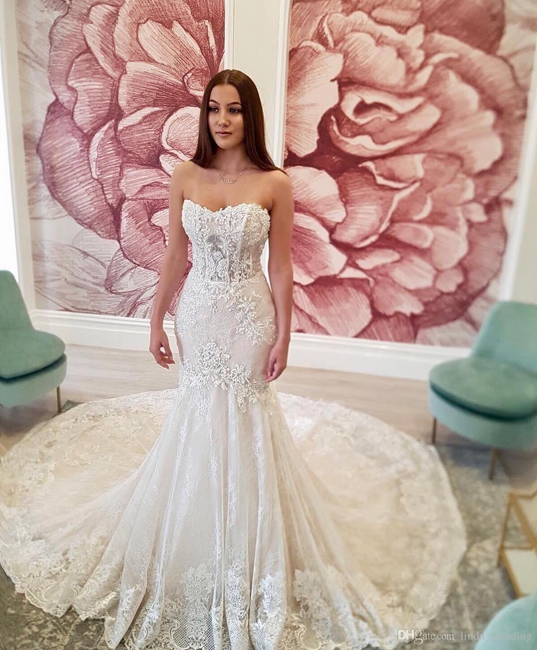 Cheap Fabulous Lace Wedding Dress Mermaid Backless Sweetheart Long