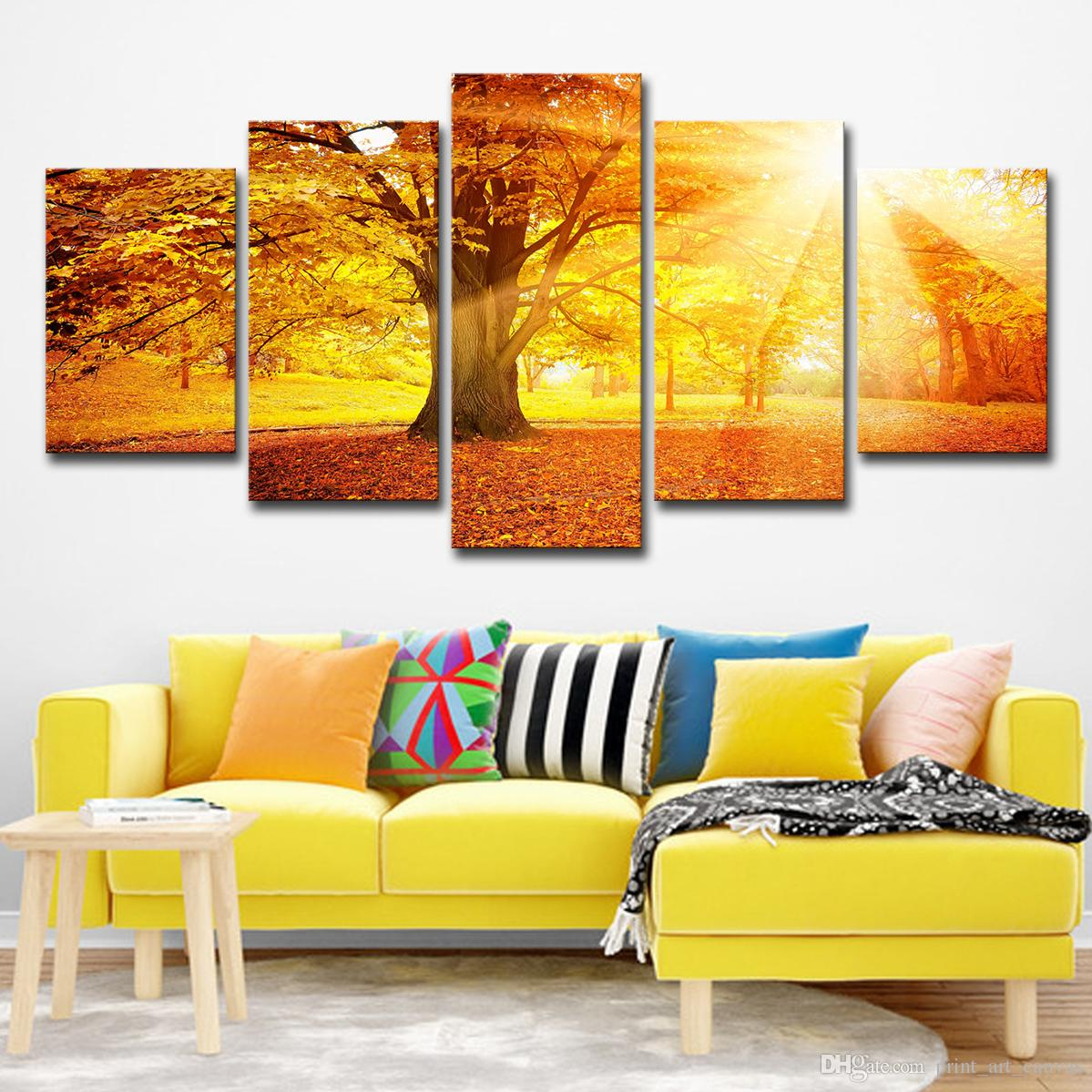 2019 modern home decor canvas painting hd printed room wall art poster 5 panel autumn morning woods landscape pictures from print art canvas
