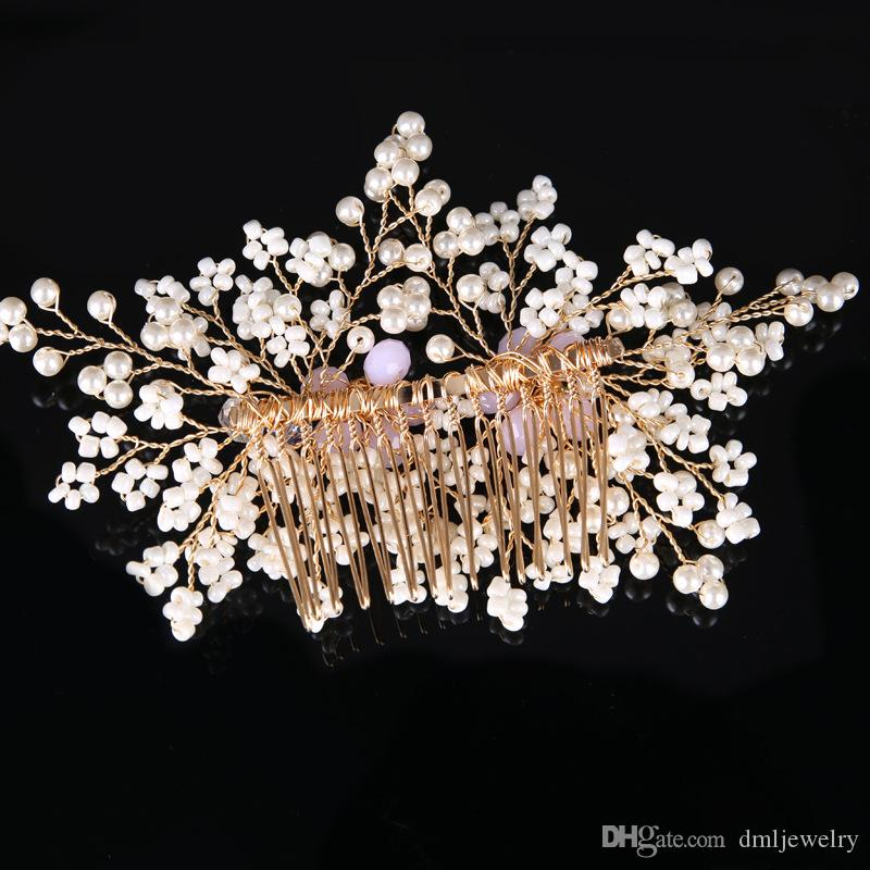 European Bridal Wedding Hair Combs Pearls Crystal Bridal Hair Comb Pink Rhinestone Girls Bridal Headpieces Dress Hair Jewelry Accessories