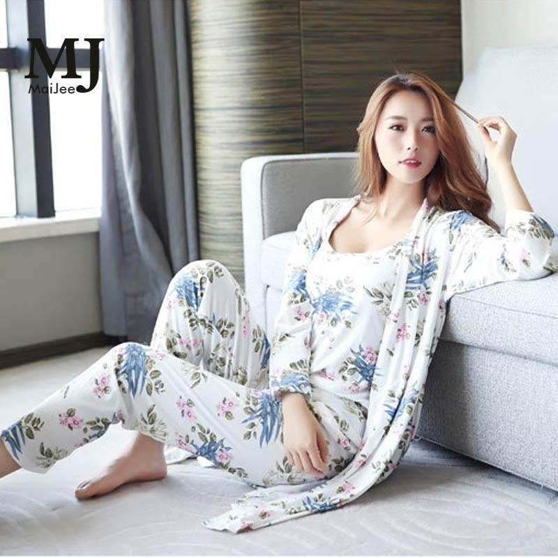 bec7f73207 2019 MaiJee 3Pic Floral Night Suit Pigiama Donna Pijama Set Pajama Pyjama  Femme Pyjamas Women Pijama Feminino Pijamas Mujer Pajamas From Huojuhua