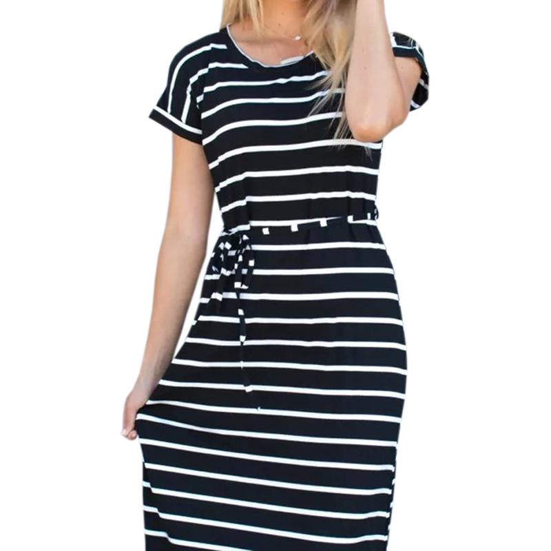 10e4fb46c60 Großhandel Split Casual Boho Sommerkleid Frauen Gestreifte Lange Kleider  Femme Kurzarm Plus Größe Oansatz Streifen Strand Maxi Kleid S 2XL GV039 Von  ...