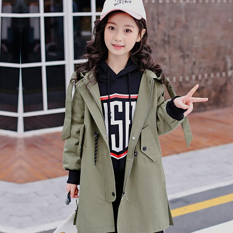 ac9be5769 Girls jacket long section 2018 spring autumn new children's clothes hooded  long-sleeved windbreaker baby girls clothes