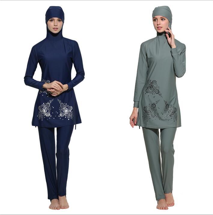07c0dedf84550 2019 Muslim Swimwear Women Islamic Full Cover Floral Swim Suits Women Girls Muslim  Female Bathing Wear Plus Size 4XL Burkinis From Crownbonanza, ...