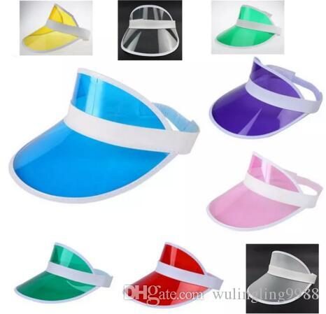 7c6180827ad92 2019 Sun Visor Sunvisor Party Hat Clear Plastic Cap Transparent Pvc Sun Hats  Sunscreen Hat Tennis Beach Elastic Hats Free DHL From Wulingling9988