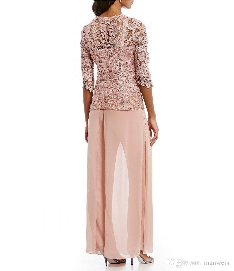 Cheap Pink Mother Of The Bride Pant Suits With Jacket Chiffon Lace Beach Wedding Guest Mothers Groom Dress Formal Outfit Garment Wear