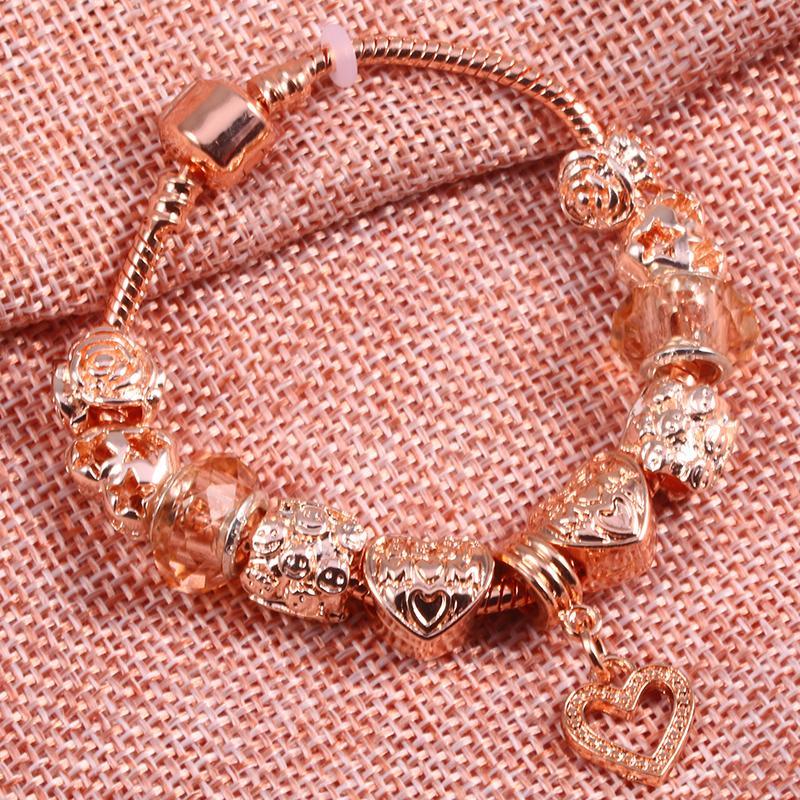 BAOPON Rose Contas De Cristal De Ouro Amor Coração Charme Pulseiras Pulseiras para As Mulheres Liga Beads Pandora Pulseira Moda Jóias