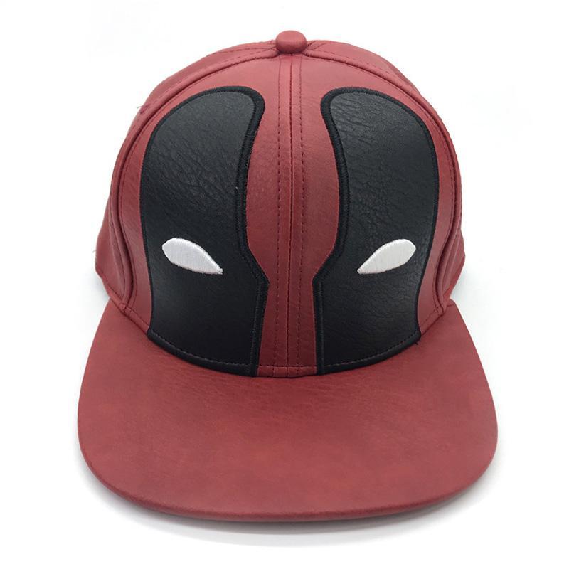 b199cf848 Superhero Deadpool PU Leather Hat Adjustable Baseball Hats Outdoor Sunhat  Hip Hop Flat Caps