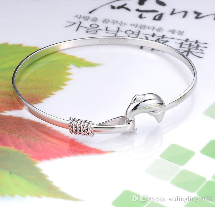 925 silver charm bangle Fine Noble mesh Dolphin bracelets Fashion Bracelets Dolphin Bangle Women Bracelet