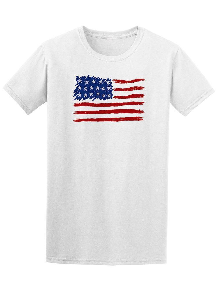 Grosshandel Handgezeichnete Usa American Flag T Manner 2018 Sommer