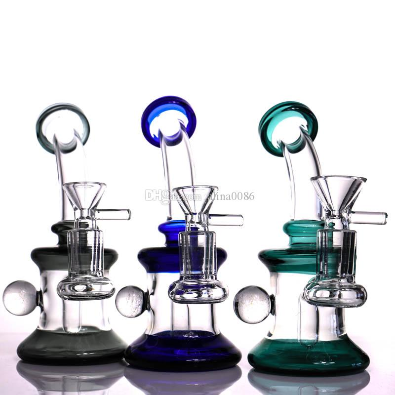 "6.7"" Glass Bong Water Pipes Colorful Bongs Heady Mini Pipe Dab Rigs Small Bubbler Hookahs Beaker Bong oil rig"