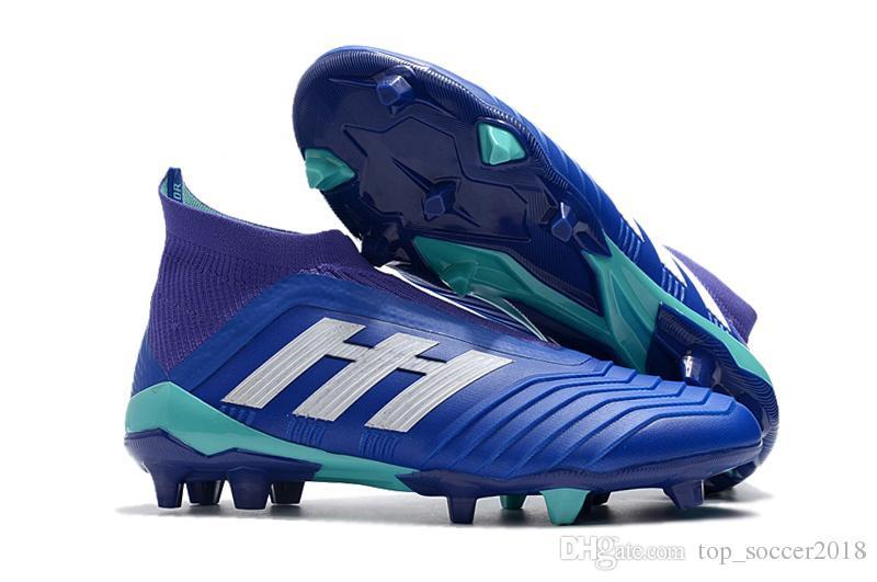 best website a7595 4a711 Compre Azul Blanco Messi Soccer Cleats Laceless Predator 18+ FG Zapatos De  Fútbol Al Aire Libre Sin Encaje Botas De Fútbol Slip On Botas De Fútbol ...